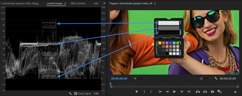 Adobe Premiere luts - grey card bars