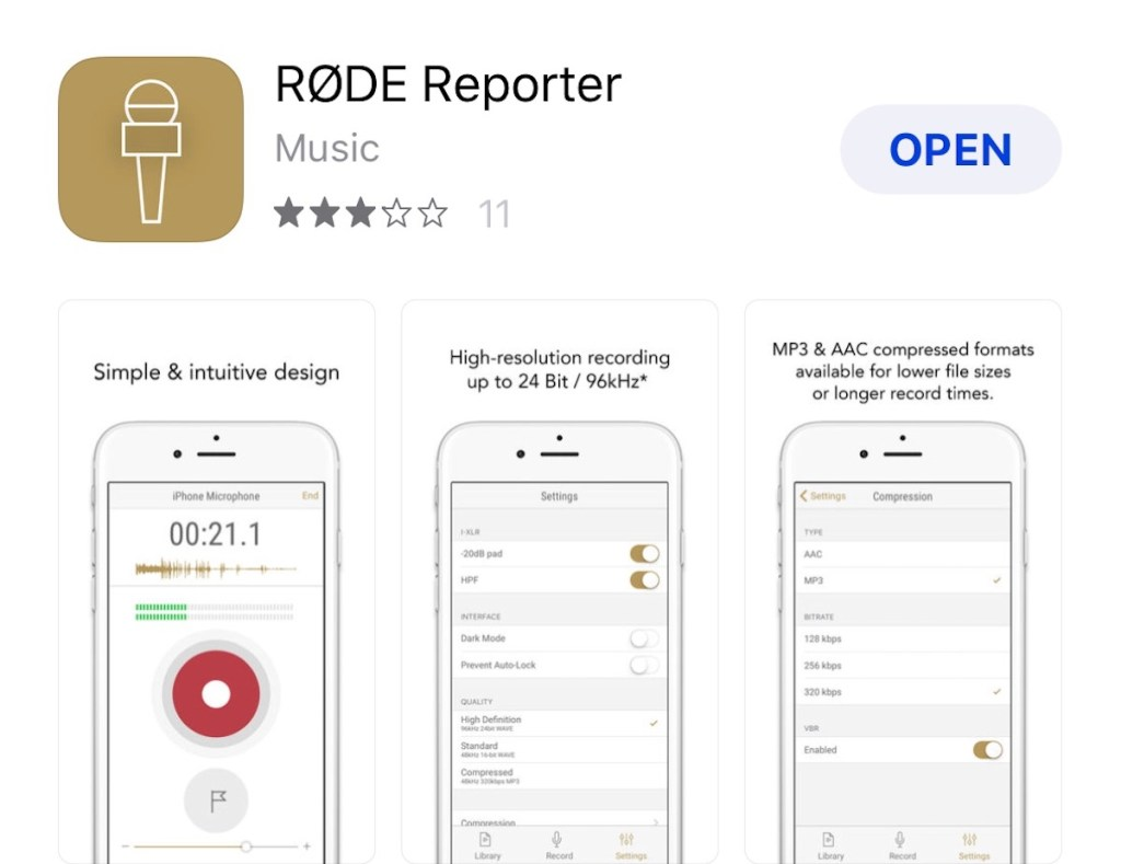 RODE Reporter App - audio recording on iphone