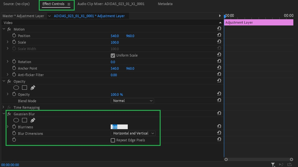 Effect parameters on adjustment layer premiere pro