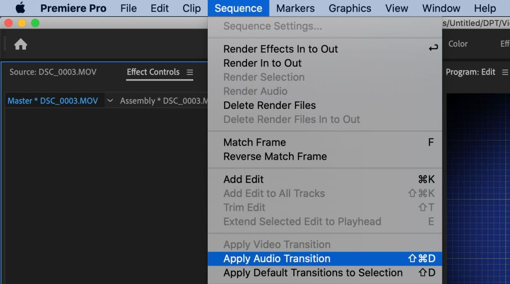 Apply Audio Transition - fade out audio premiere