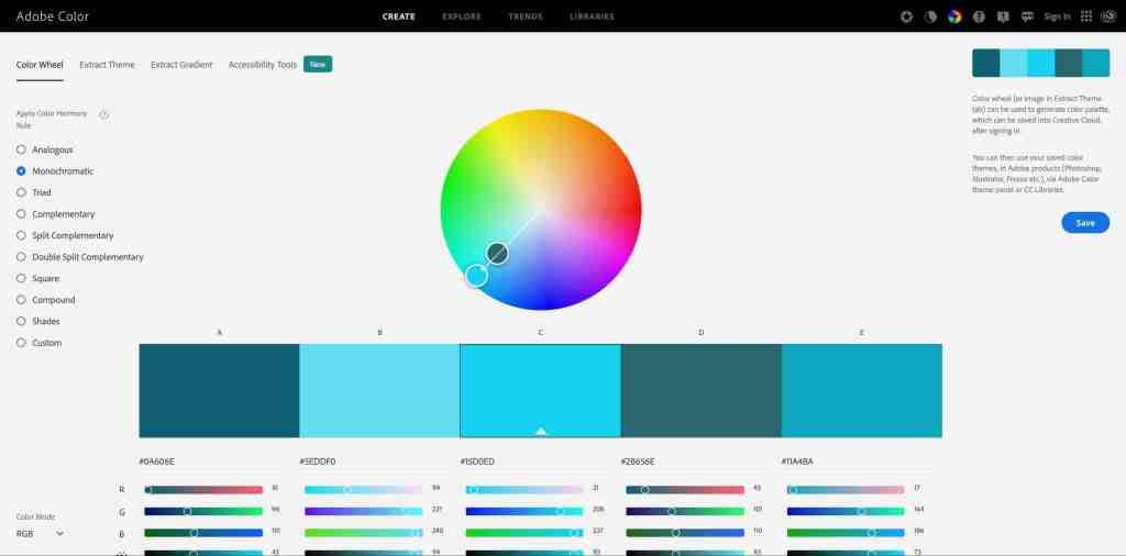 Monochromatic Color Harmony Rule Adobe Color