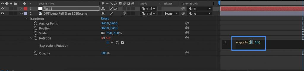 Highlight Wiggle Expression After Effects