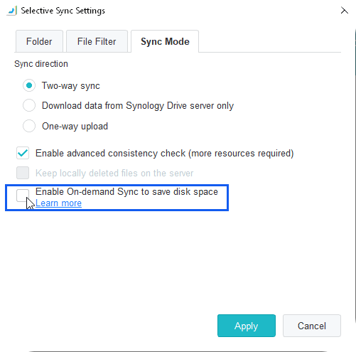 Synology Drive Client On-Demand Sync Checkbox