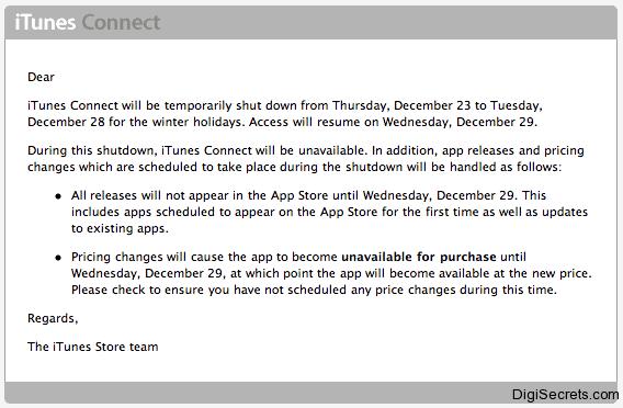 iTunes Connect Shut Down