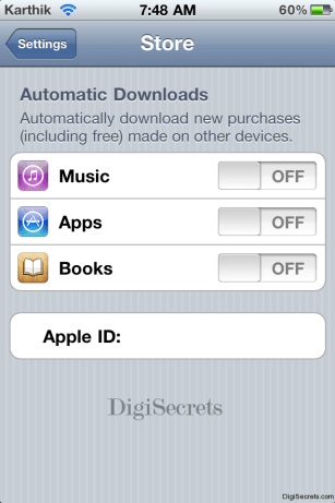 Automatic Download Settings iOS5