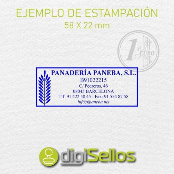 Plantilla sello 58x22 mm