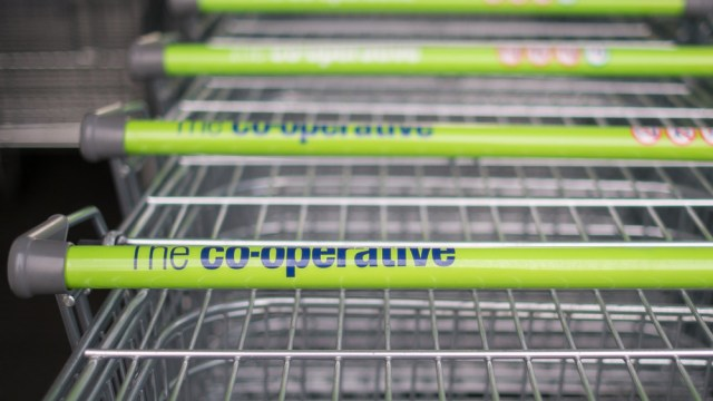 Co-op trolleys with the logo showing.