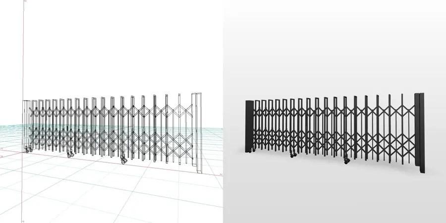 formZ 3Dフリー素材 エクステリア 車庫廻り カーテンゲート ノンレール 引戸 ジャバラゲート アコーディオンゲート 駐車場