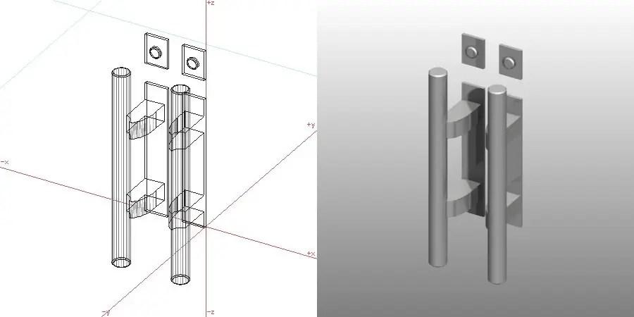 formZ 3D 建築 扉 door ドアハンドル プッシュプルハンドル handle