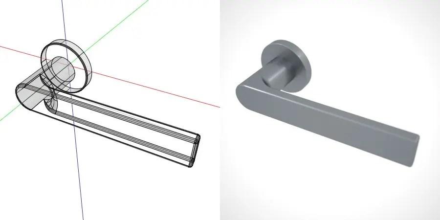 formZ 3D 建築 扉 door ドアハンドル レバーハンドル handle lever