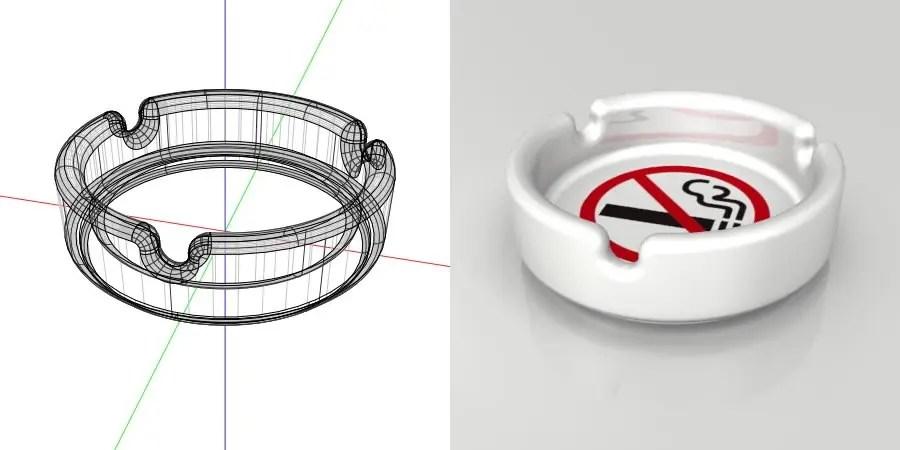 フリー素材 formZ 3D インテリア interior 雑貨 miscellaneous goods 禁煙マークがプリントされた 使っていいのかわからない灰皿 ashtray