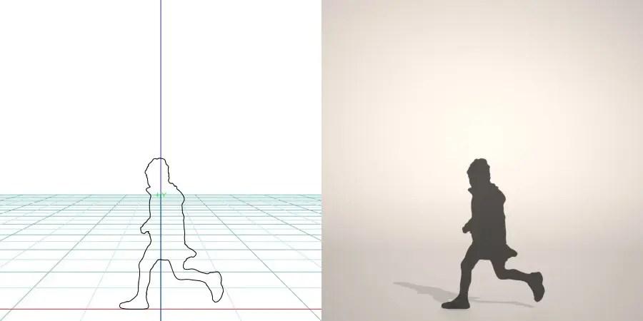 フリー素材 formZ 3D シルエット silhouette 子供 child 少女 girl スカート skirt ニット帽 走る run