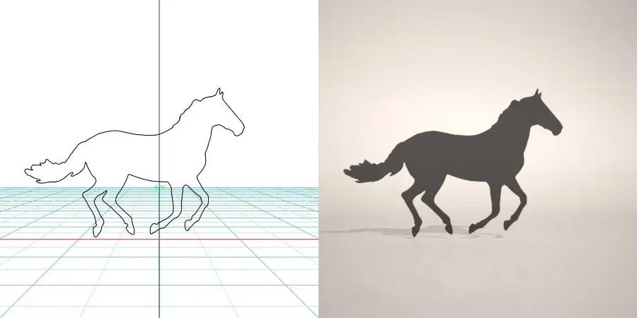 formZ 3D シルエット silhouette 動物 animal 馬 ウマ うま 午 horse