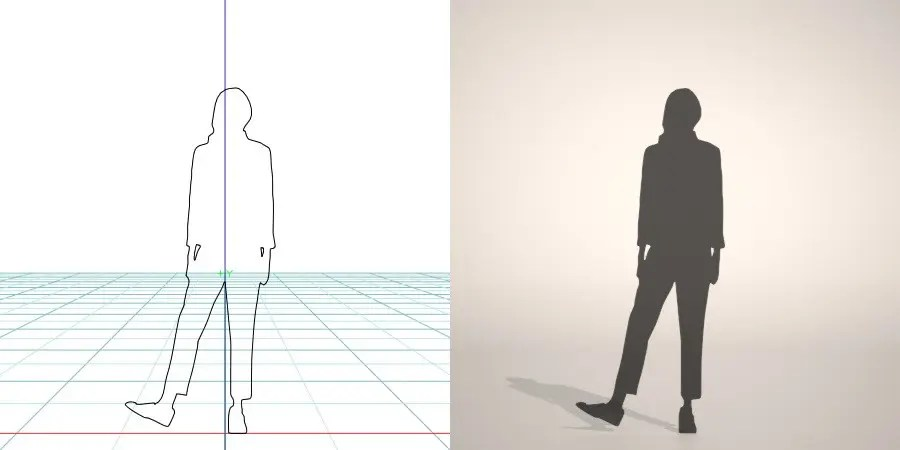 formZ 3D silhouette woman female lady クロップドパンツを穿いた女性のシルエット
