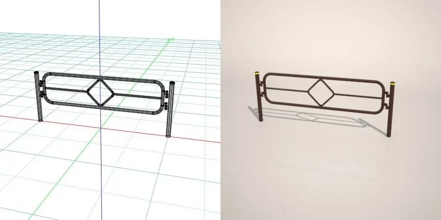 formZ 3D 道路 車両用防護柵 ガードフェンス ガードパイプ road guard pipe fence