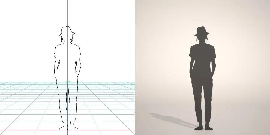 フリー素材 formZ 3D silhouette woman female lady hut クロップドパンツ cropped pants 帽子をかぶった女性のシルエット