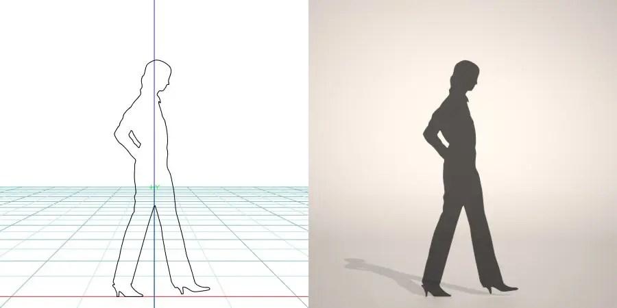フリー素材 formZ 3D silhouette woman female lady パンプス pumps ストレートパンツを穿いた女性のシルエット