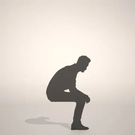 formZ 3D silhouette man 腰かける 座る 腰かけた男性のシルエット