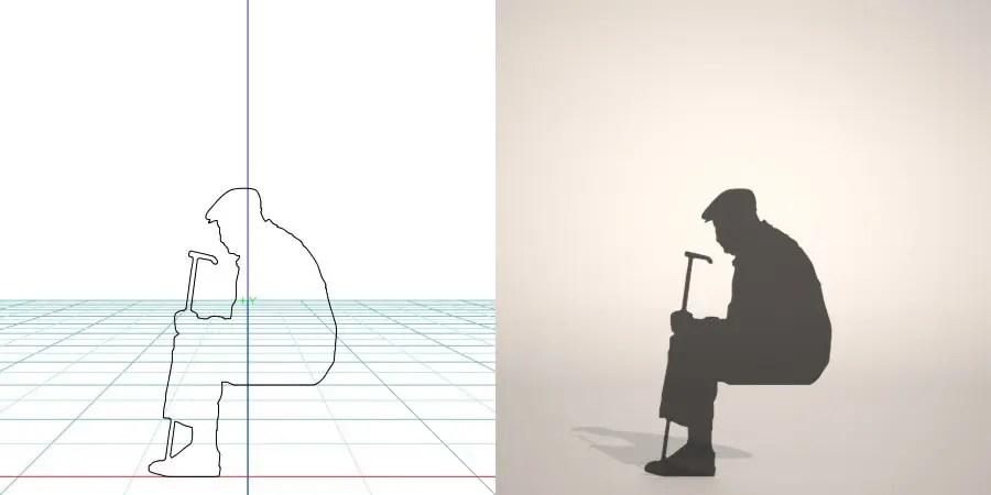 フリー素材 formZ 3D silhouette 男性 man 座る 杖を手に持って腰かける老人のシルエット