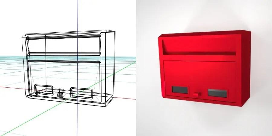 壁掛けの郵便受け(赤色)の3D素材丨エクステリア ポスト丨無料 商用可能 フリー素材 フリーデータ丨データ形式はformZ ・3ds・objファイルです