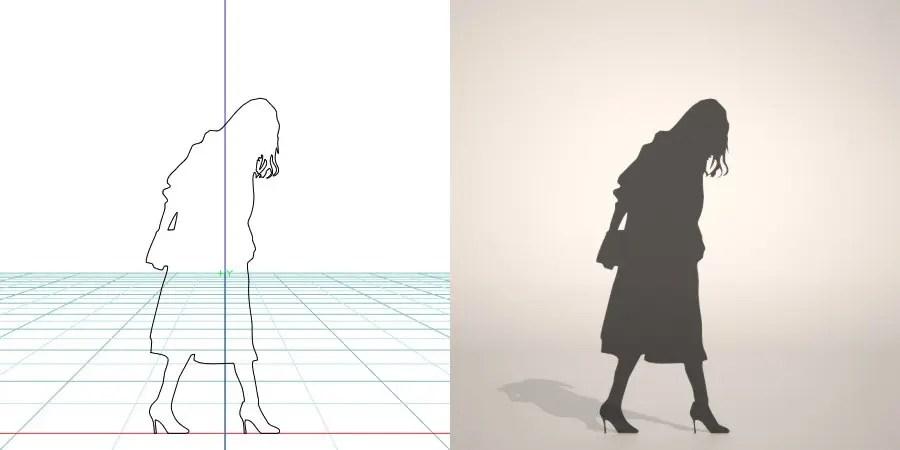 フリー素材 formZ 3D silhouette woman female lady skirt 鞄 bag カバン バッグ パンプス pumps ロングコートを着た女性のシルエット