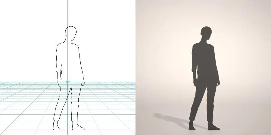 フリー素材 formZ 3D silhouette woman female lady ジーパン denim jeans デニムを穿いた女性のシルエット