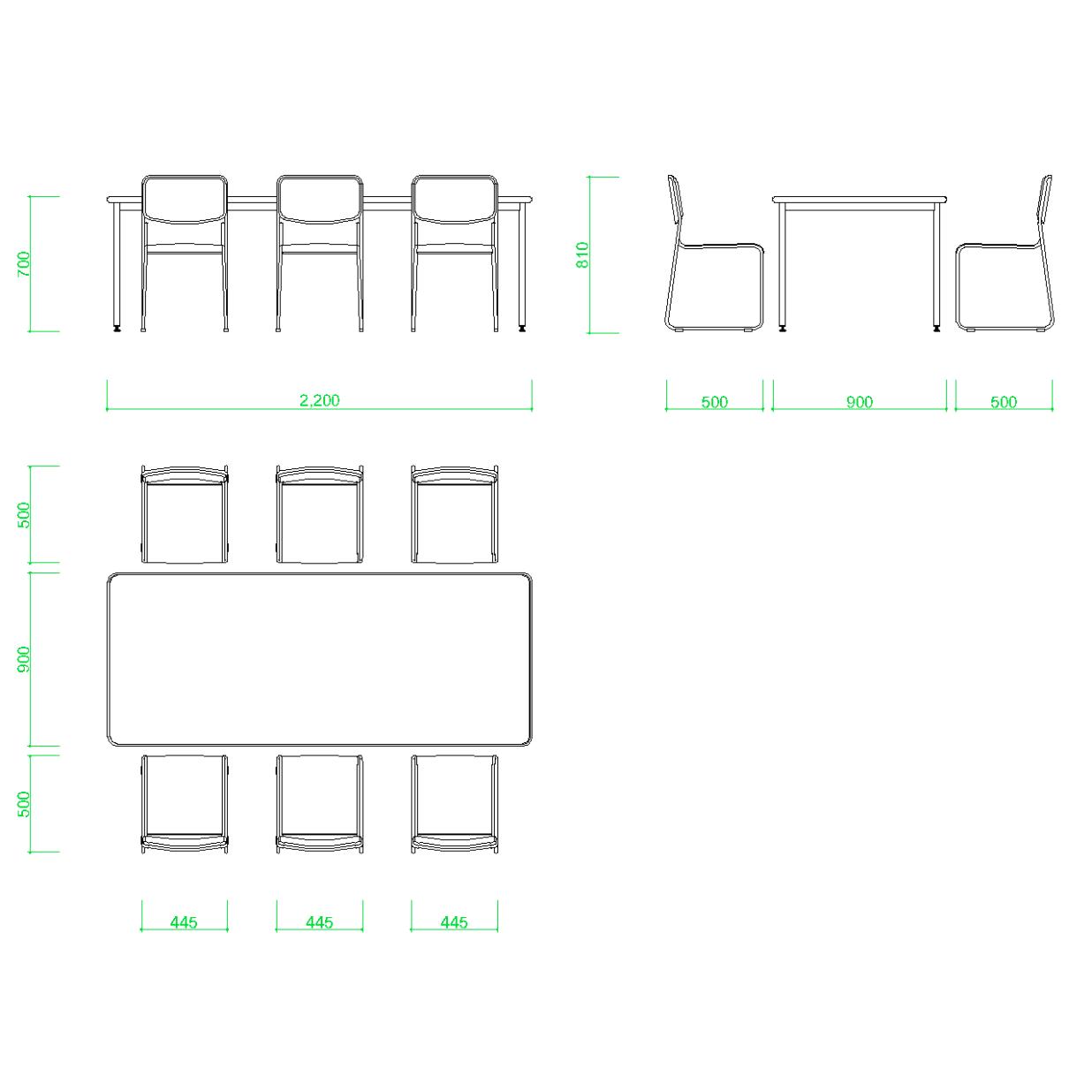 打合せテーブルとパイプ椅子6脚の2DCAD部品,無料,商用可能,フリー素材,フリーデータ,AUTOCAD,DWG,DXF,インテリア,interior,家具,furniture,机,会議テーブル,ミーティングテーブル,meeting table,いす,イス,スチールパイプ椅子,chair,事務,オフィス家具,業務用