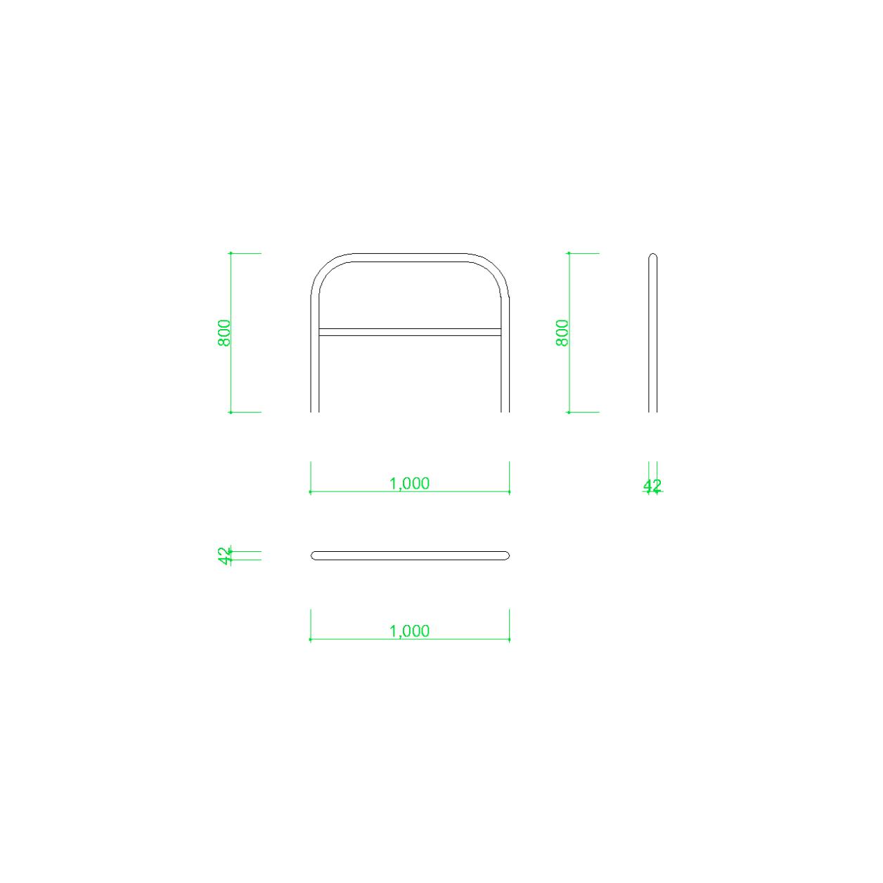 ガードパイプ(1m)の2DCAD部品,無料,商用可能,フリー素材,フリーデータ,AUTOCAD,DWG,DXF,道路,road,車両用防護柵,ガードフェンス,guard pipe,fence