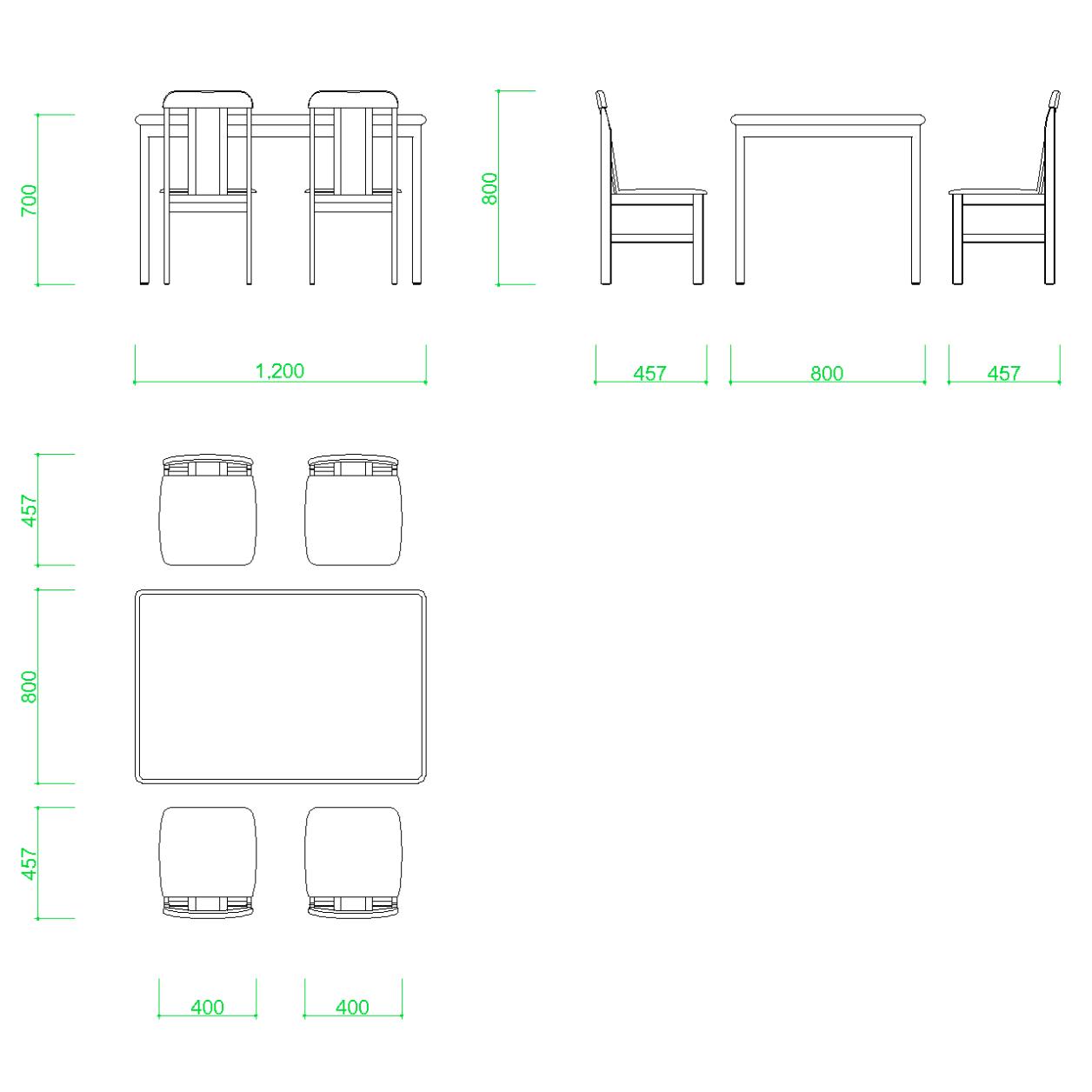 ダイニングテーブルと椅子4脚の2DCAD部品丨インテリア 家具 寸法丨無料 商用可能 フリー素材 フリーデータ AUTOCAD DWG DXF|【無料・商用可】2D・3D CADデータ フリーダウンロードサイト