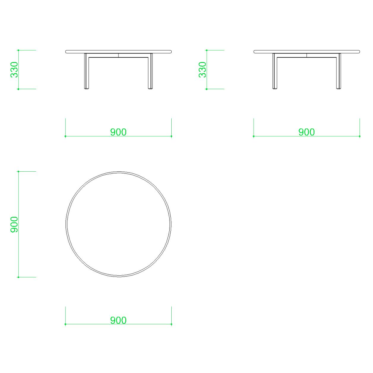 丸いローテーブルの2DCAD部品丨インテリア,家具,寸法丨無料,商用可能,フリー素材,フリーデータ,AUTOCAD,DWG,DXF