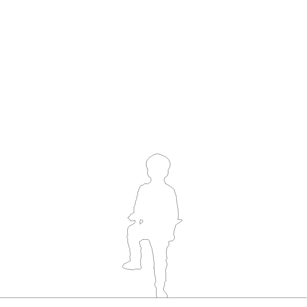 右足を台に乗せて立つ マリンキャップをかぶった男の子丨シルエット 人間 子供丨無料 商用可能 フリー素材 フリーデータ AUTOCAD DWG DXF