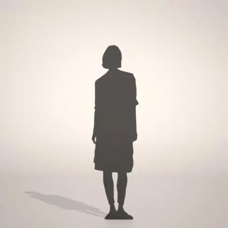 レギンスとスカートを穿いた女性の3D素材丨シルエット 人間 女性丨無料 商用可能 フリー素材 フリーデータ丨データ形式はformZ ・3ds・objファイルです