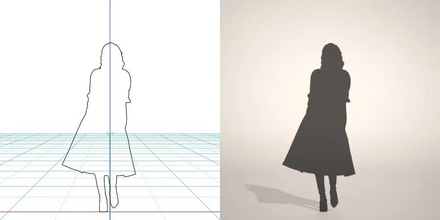 ワンピースにカーディガンを羽織った女性の3D素材丨シルエット 人間 女性丨無料 商用可能 フリー素材 フリーデータ丨データ形式はformZ ・3ds・objファイルです