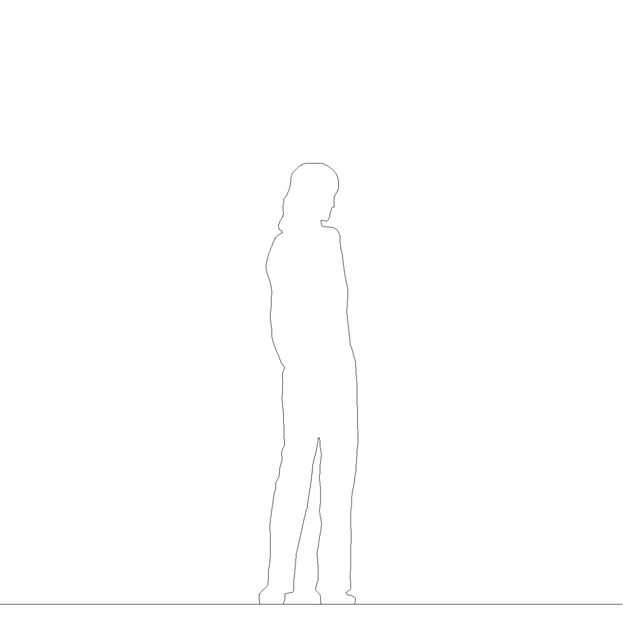 ストレートパンツを穿いた女性の2DCAD部品丨シルエット 人間 女性丨無料 商用可能 フリー素材 フリーデータ AUTOCAD DWG DXF