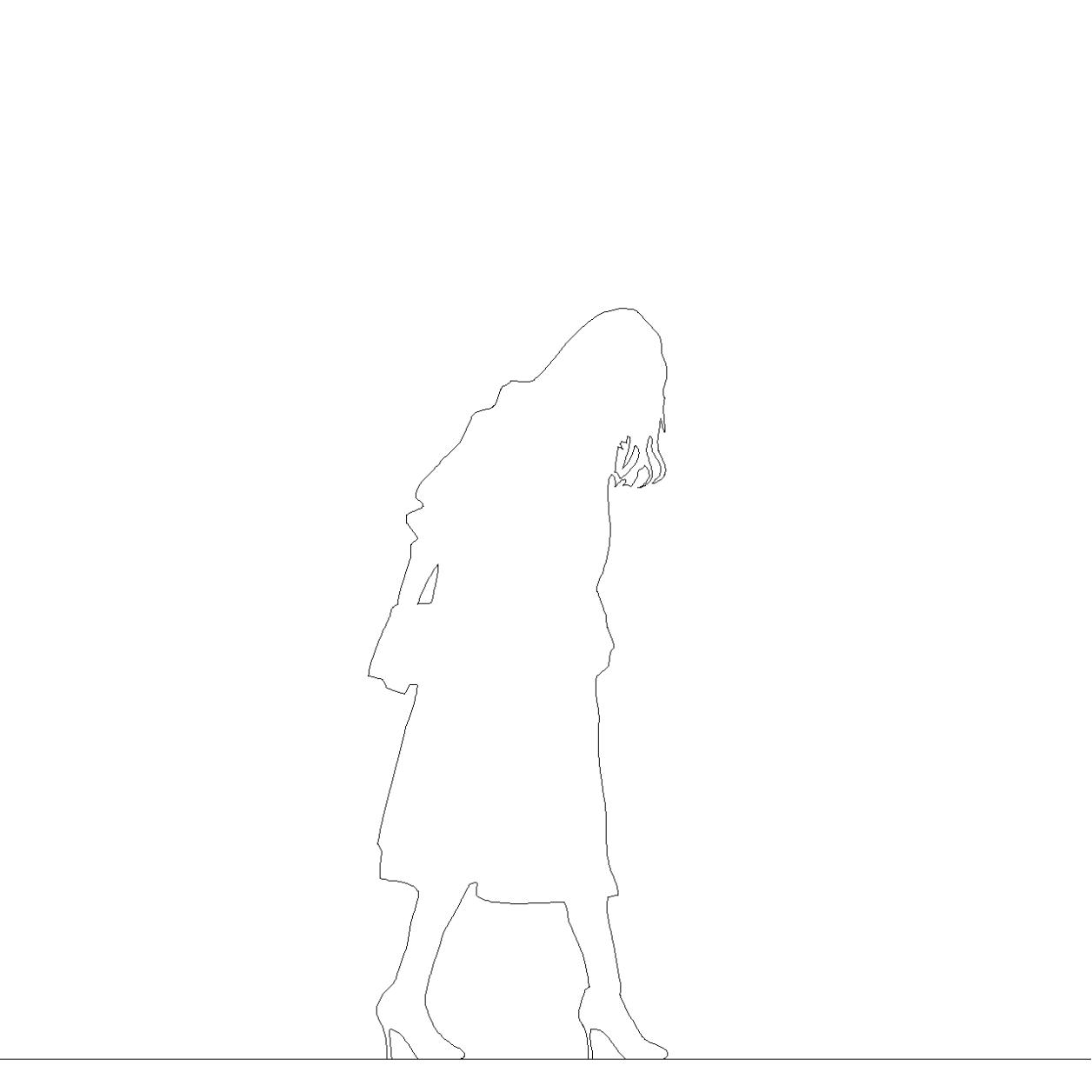 ロングコートを着た女性の2DCAD部品丨シルエット 人間 女性丨無料 商用可能 フリー素材 フリーデータ AUTOCAD DWG DXF
