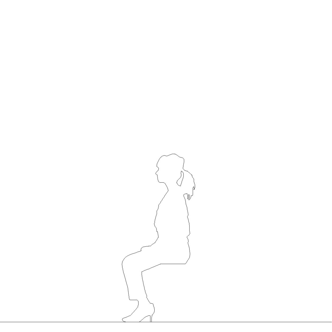 腰かける女性の2DCAD部品丨シルエット 人間 女性丨無料 商用可能 フリー素材 フリーデータ AUTOCAD DWG DXF