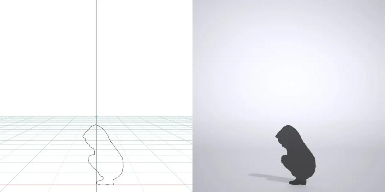 雨合羽を着た しゃがんだ子供の3DCAD素材丨シルエット 人間 子供丨無料 商用可能 フリー素材 フリーデータ丨データ形式はformZ ・3ds・objファイルです 2D・3D CADデータ フリーダウンロードサイト