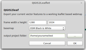 GUI qgis2leaf plugin