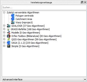 Fenster Verarbeitungswerkzeuge in QGIS 2.8.2 Wien