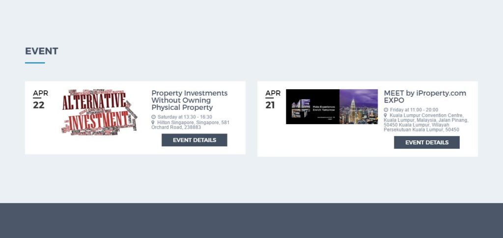 Screen grab of the Yazhou Property Website Events Page - Web Design & Development