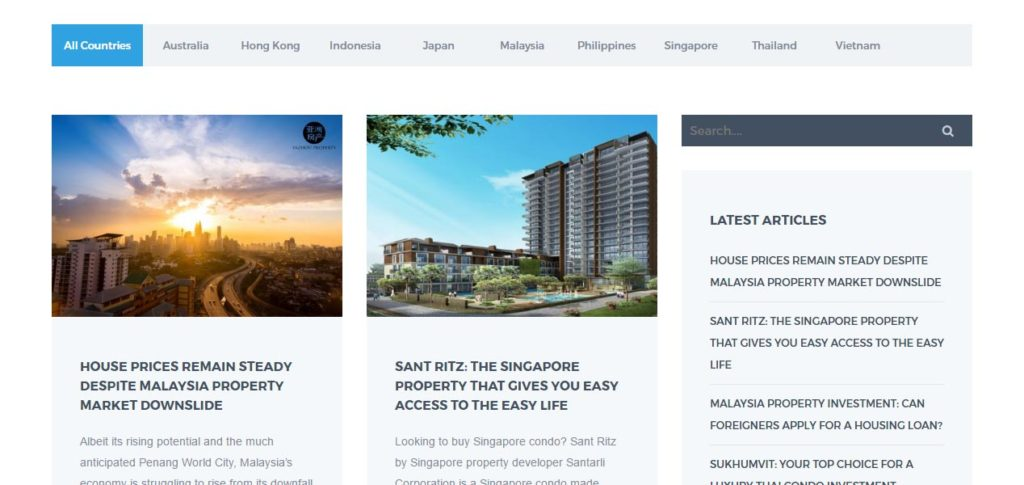 Screen grab of the Yazhou Property Website Blog Page - Web Design & Development