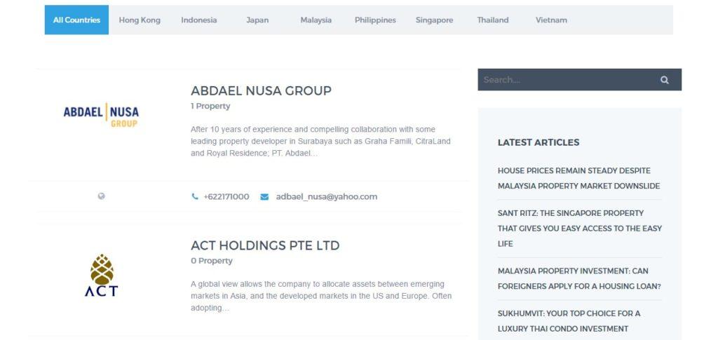 Screen grab of the Yazhou Property Website Developer Listing - Web Design & Development