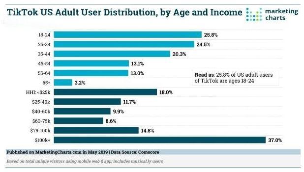 Người dùng phổ biến trên TikTok từ 16-24 tuổi