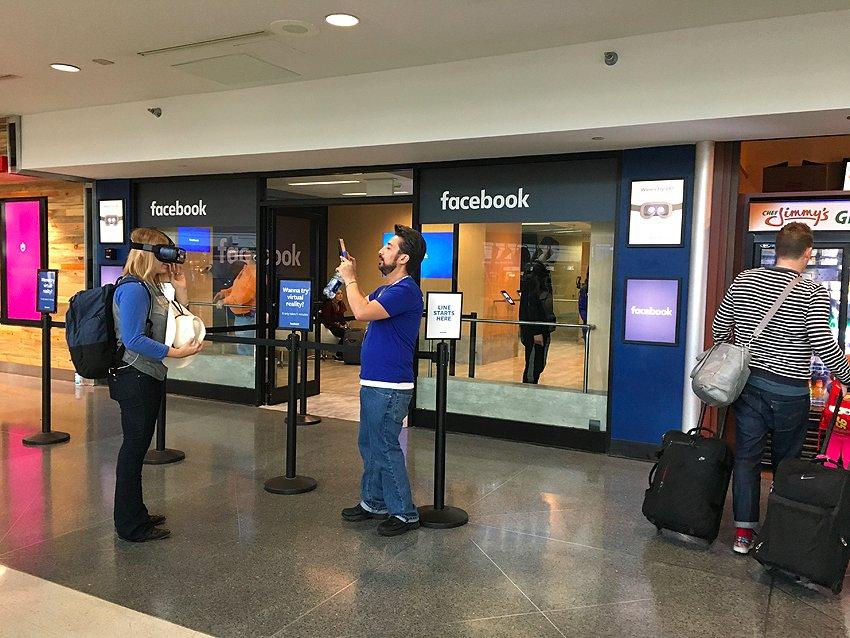 Facebook Oculus Rift pop-up store at Denver International Airport.