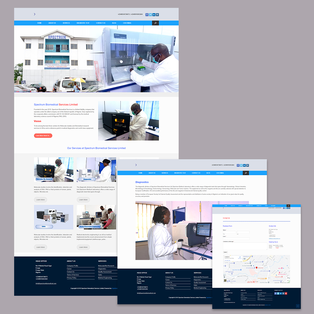 Website Design for Spectrum Biomedical Services Limited