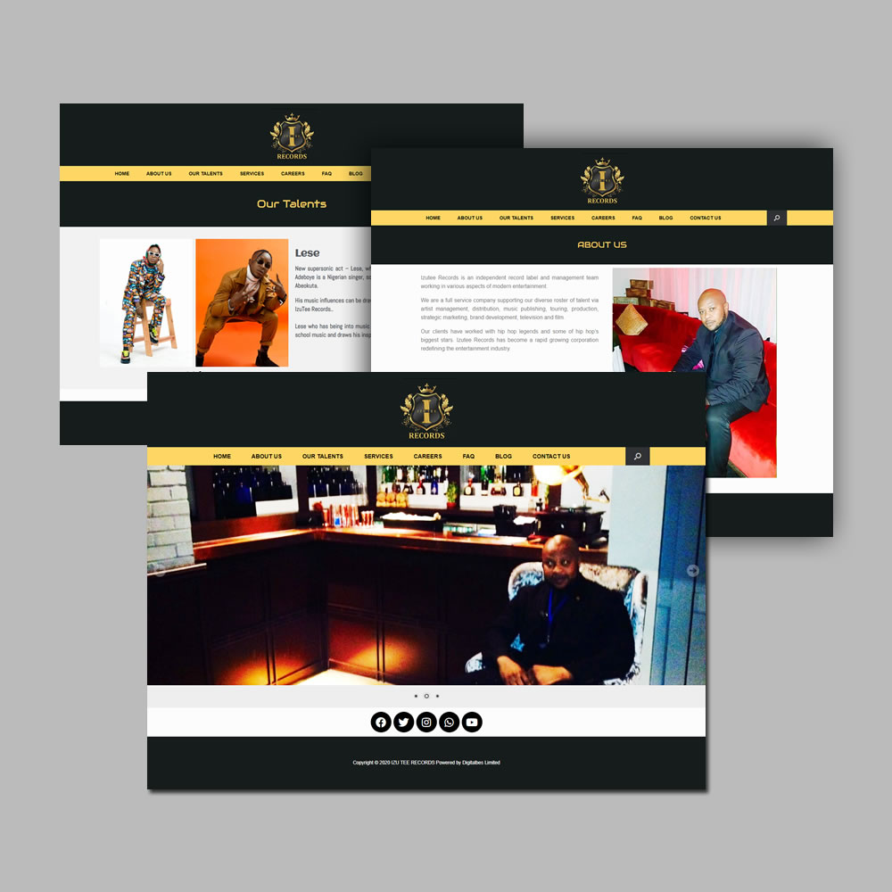 Website Design and Development for Izutee Records Label