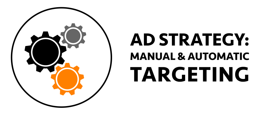 Gears icon and text reading: Amazon ad strategy: manual and automatic targeting