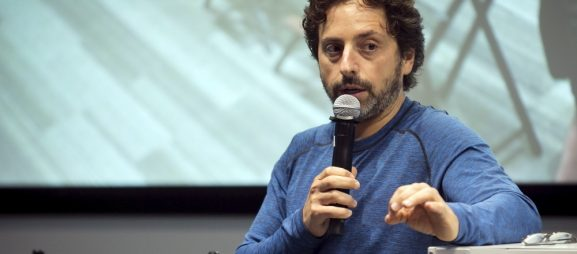 Google co-founder Sergey Brin takes questions from the media following presentations at a media preview of Google's prototype autonomous vehicles in Moutain View, California