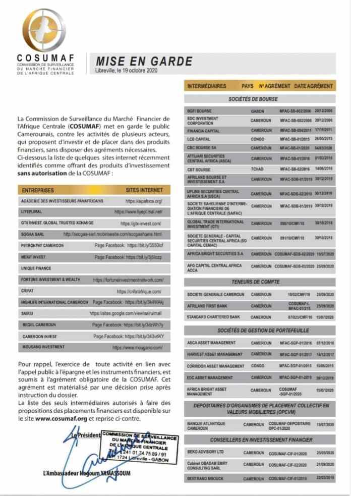 Cryptomonnaies : la Cosumaf interdit des entreprises