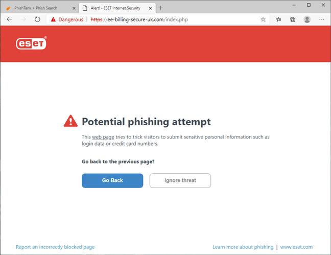 O pagină web malițioasă blocată de ESET Internet Security